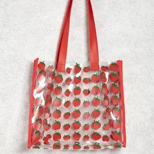 Forever 21 Strawberry Vtg Style Clear Handbag Tote